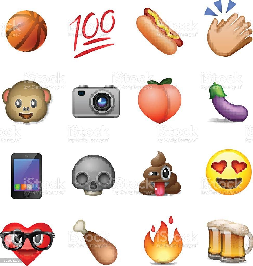 Set of cute smiley emoticons, emoji design royalty-free stock vector art