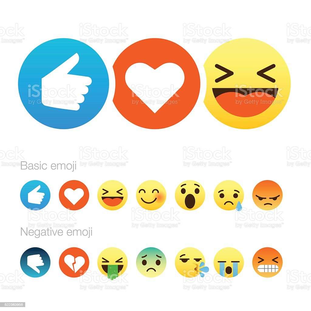 Set of cute smiley emoticons, flat design royalty-free stock vector art