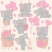 set of cute valentine elephant part 2