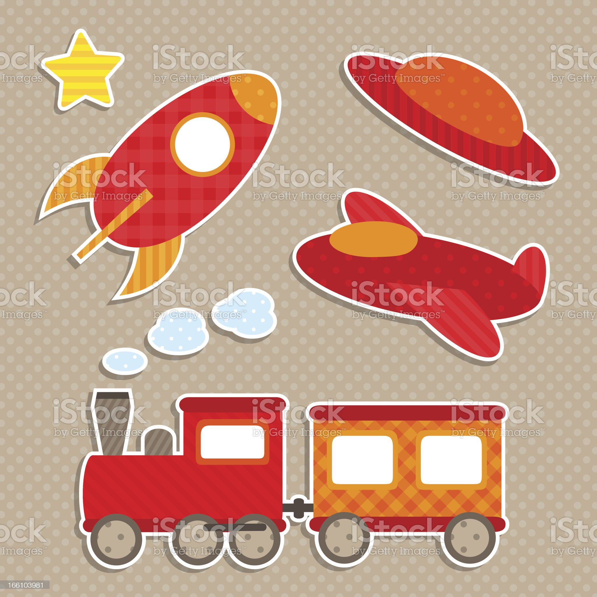 Set of cute vector colorful transport stickers royalty-free stock vector art