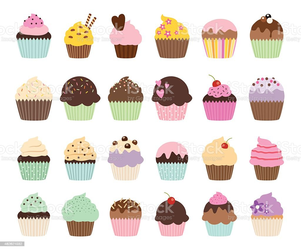 Set of cute vector cupcakes and muffins vector art illustration