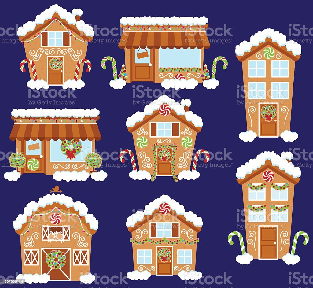 Set of Cute Vector Holiday Gingerbread Houses, Shops vector art illustration