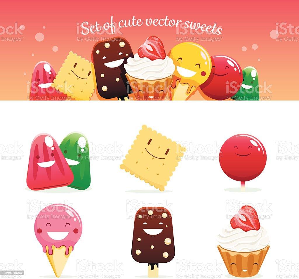 Set of cute vector sweets vector art illustration