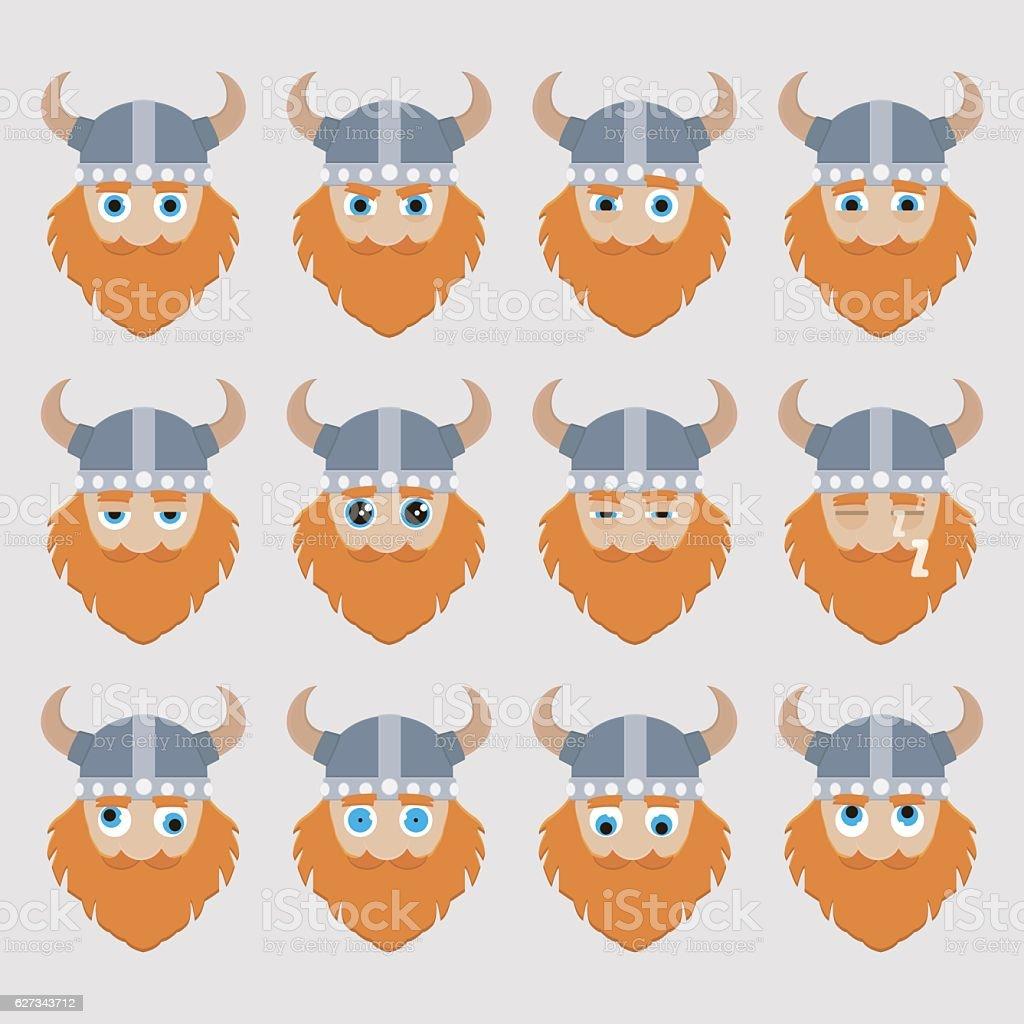 Set of cute viking emoticons. vector art illustration