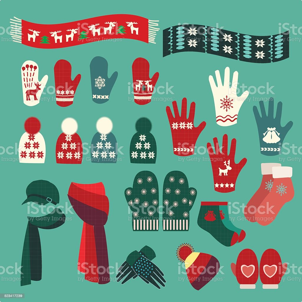 Set of cute warm Christmas mittens, stockings and hats vector art illustration
