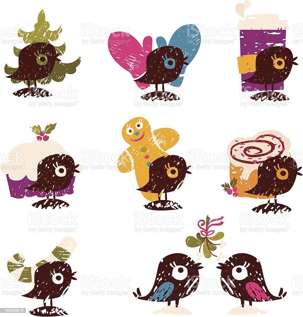 Set of Cute Winter Holiday Birds royalty-free stock vector art