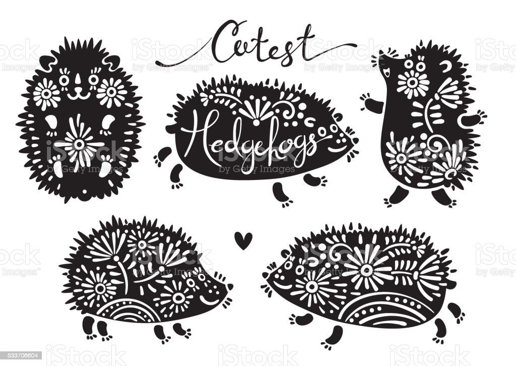 Set of cutest hedgehogs with flowers vector art illustration