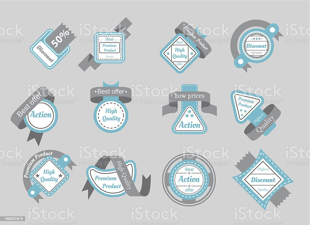 set of cyan seals with gray ribbons royalty-free stock vector art