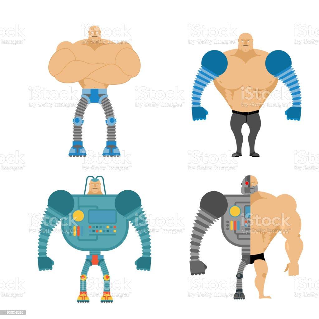 Set of Cyborgs. People with mechanical limbs. Robotic Bionic vector art illustration