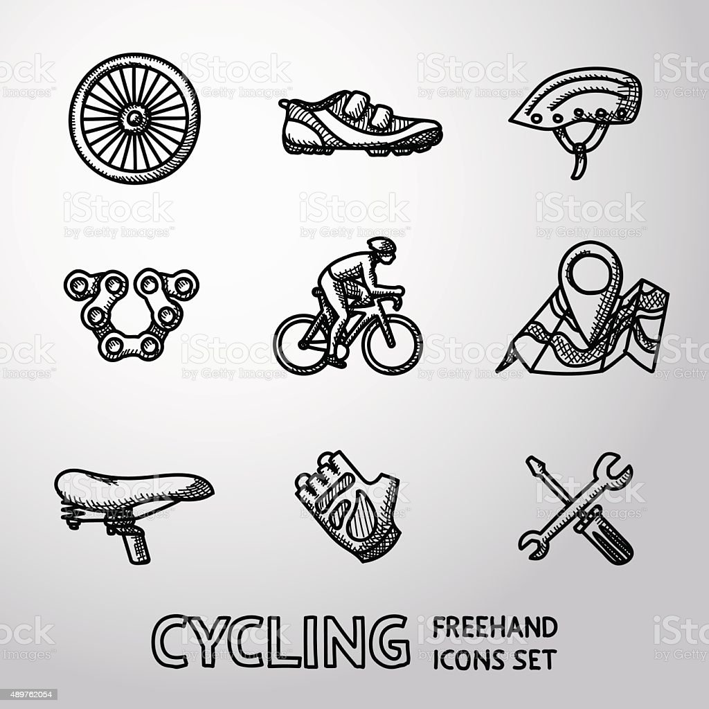 Set of Cycling freehand icons  - wheel, shoe, helmet, chain vector art illustration