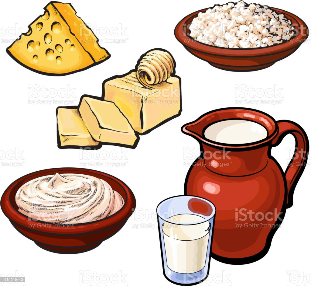 Set of dairy products vector art illustration