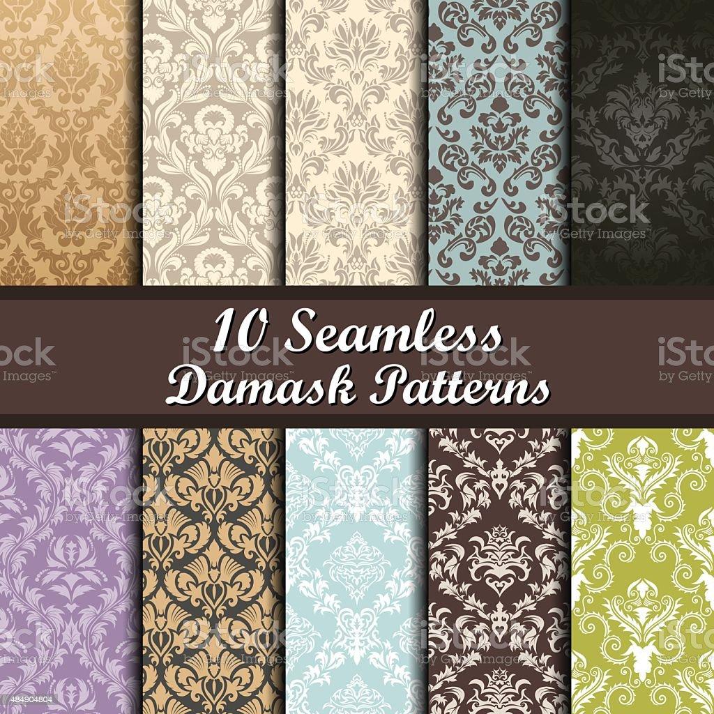 Set of  Damask Seamless Patterns vector art illustration