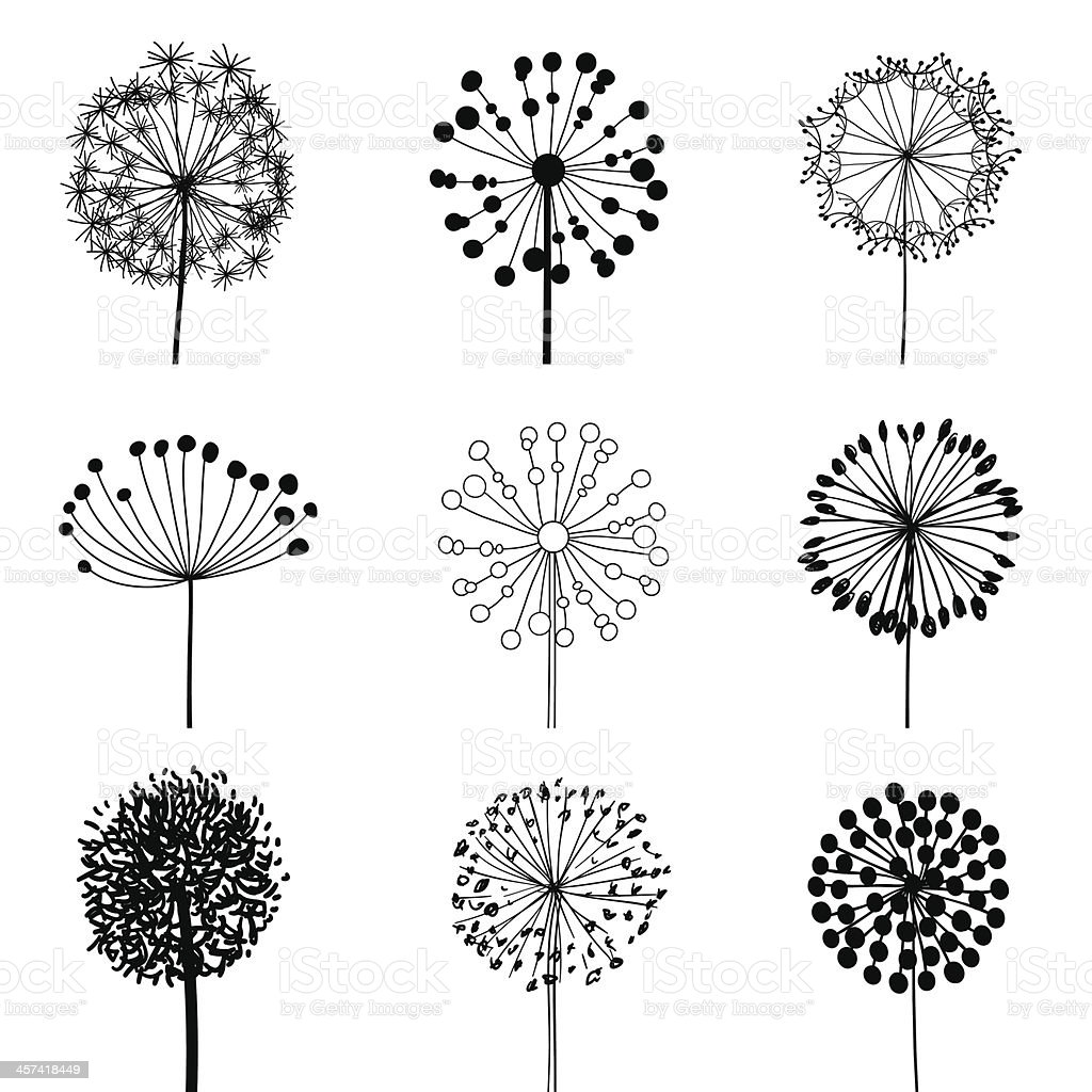 Set of Dandalions vector art illustration