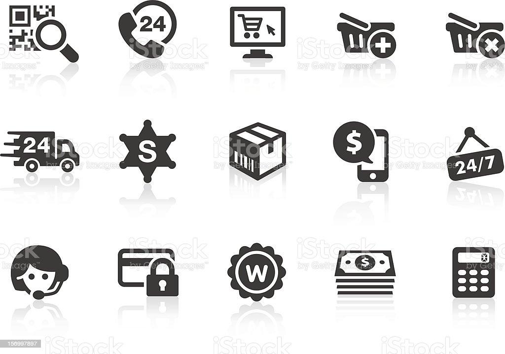 Set of dark gray e-commerce icons vector art illustration