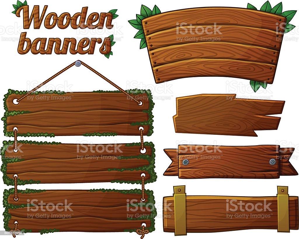 Set of dark wooden banners 2 vector art illustration