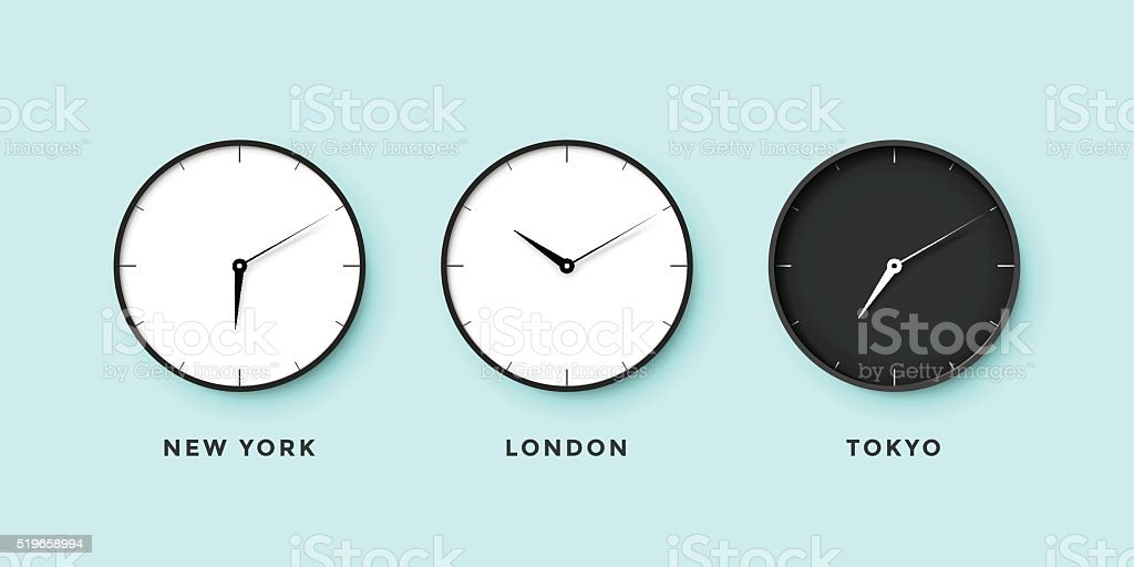 Set of day and night clock for time zones different vector art illustration