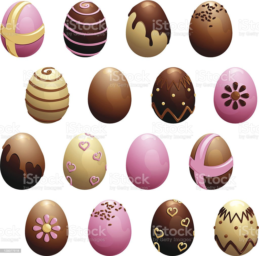 Set of decorated chocolate eggs vector art illustration