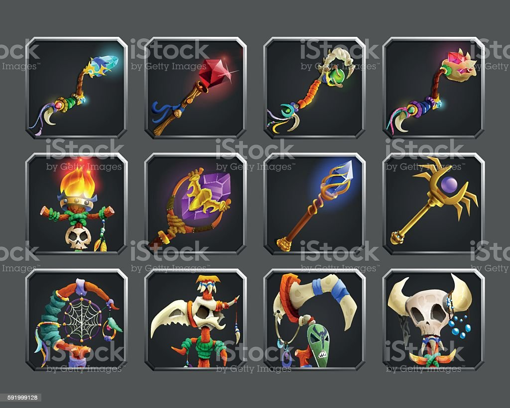 Set of decoration icons for games. Collection of magic weapons. vector art illustration