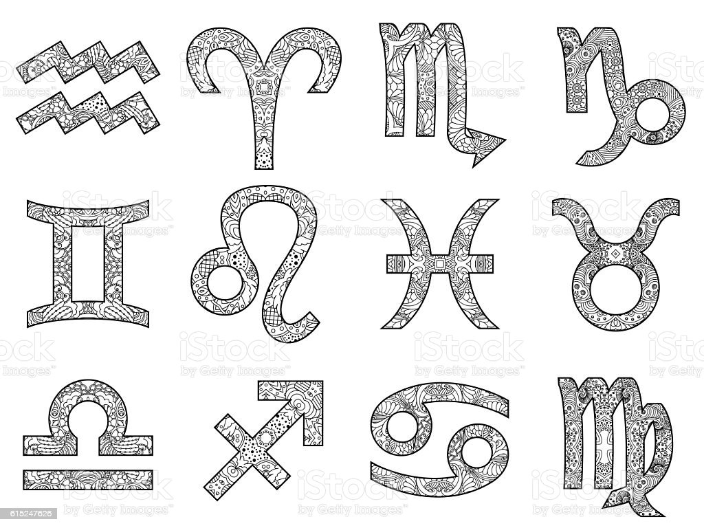 Set of decorative black and white zodiac signs. vector art illustration