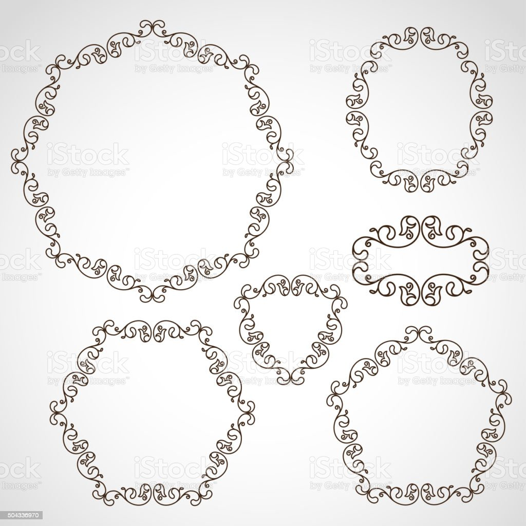 Set of decorative borders, line art filigree frames vector art illustration