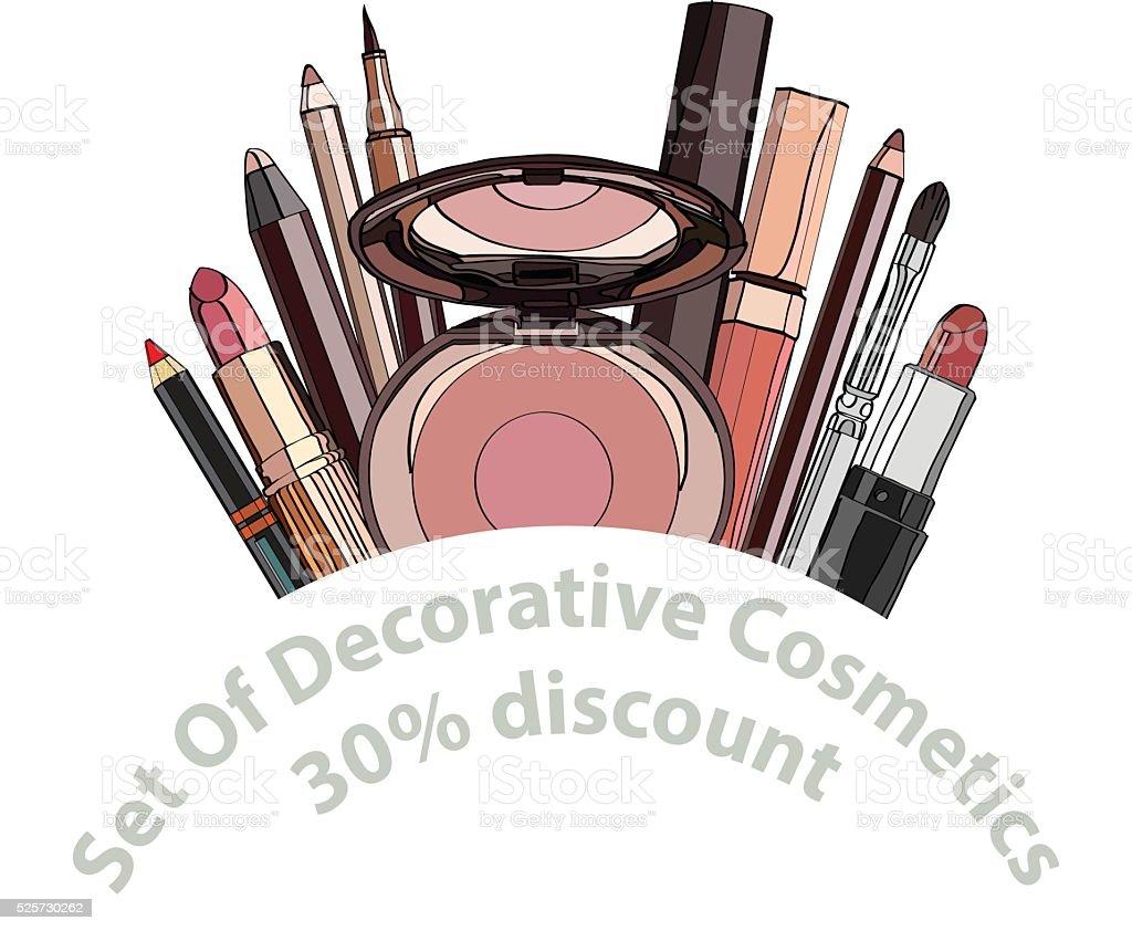 set of decorative cosmetics. vector art illustration