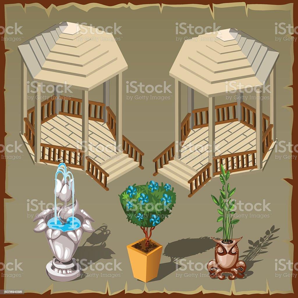 Set of decorative elements for decorating infield vector art illustration