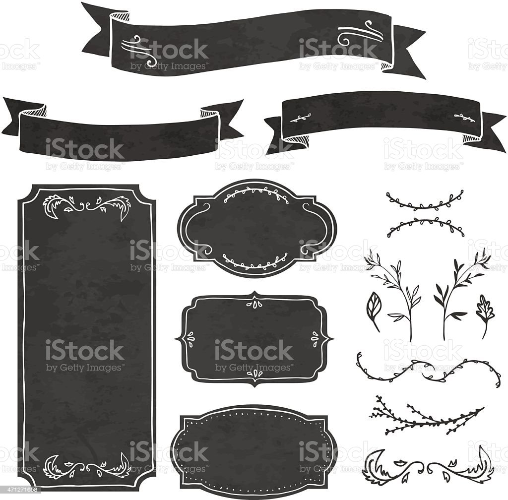 Set of decorative elements in the style of chalk board. vector art illustration