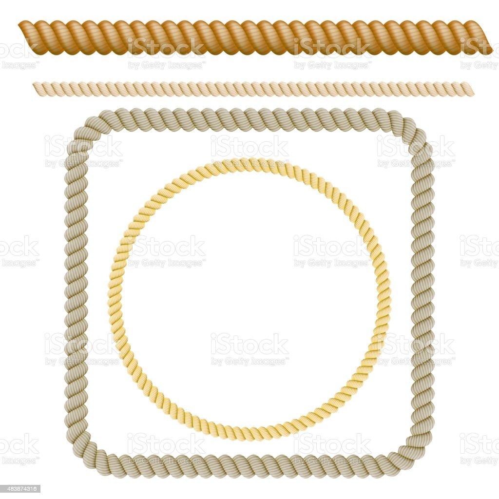 Set of decorative elements the rope. Vector illustration vector art illustration