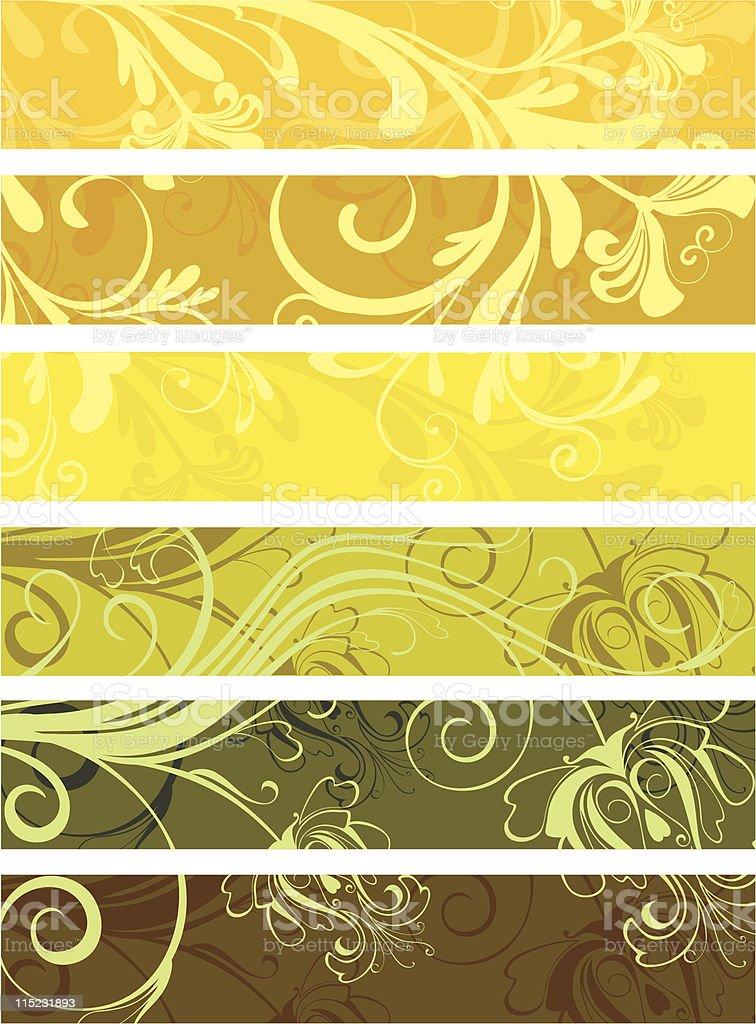 set of decorative floral panels vector art illustration
