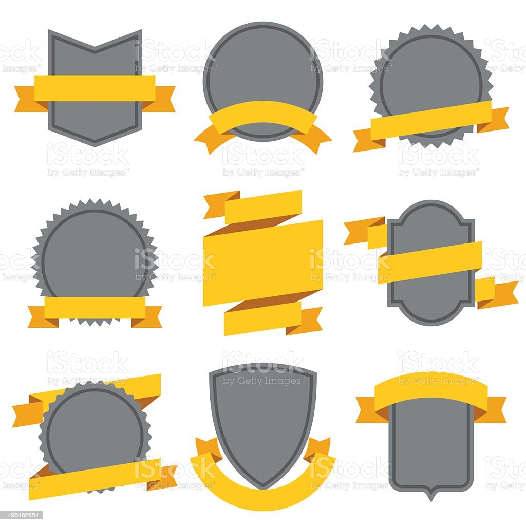 Set of decorative ribbons and banners in flat style vector art illustration