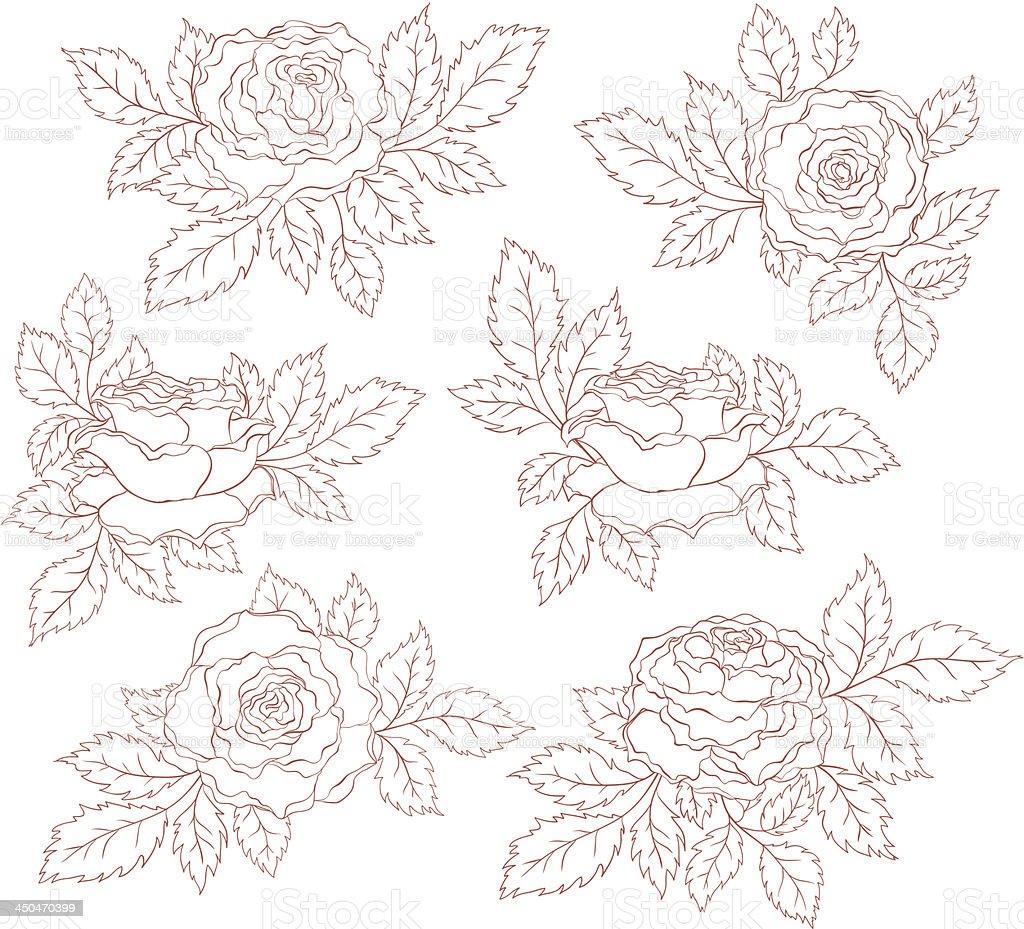 Set of decorative roses royalty-free stock vector art