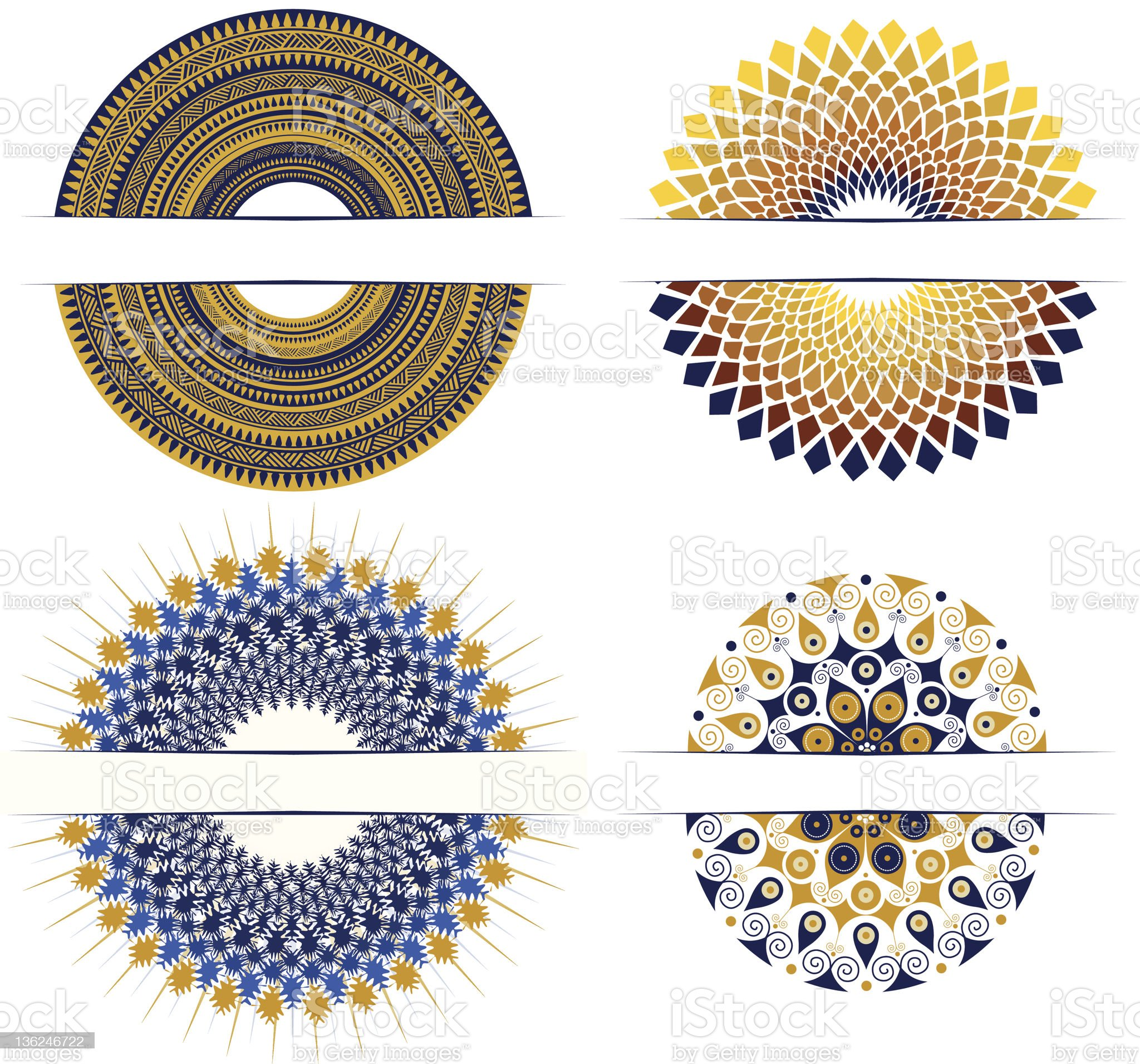 set of decorative round design elements royalty-free stock vector art