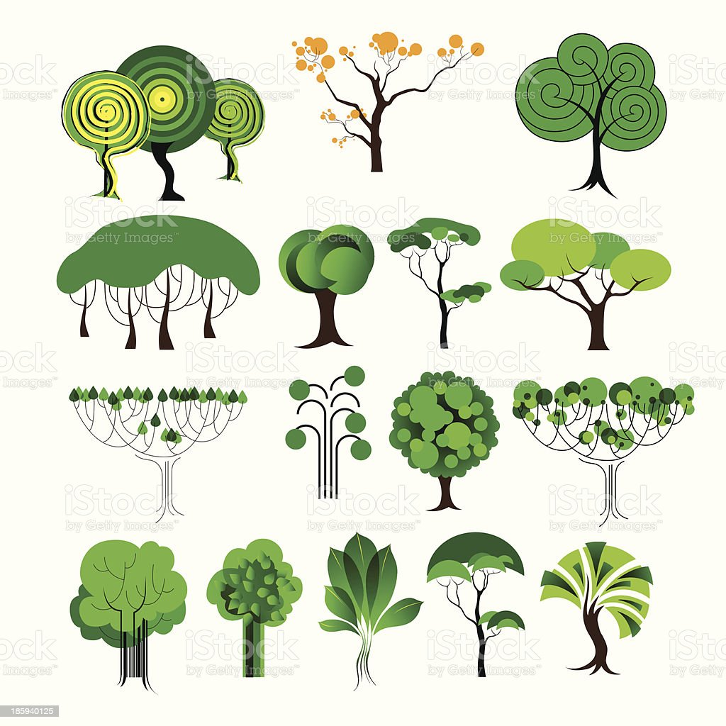 set of decorative tree royalty-free stock vector art