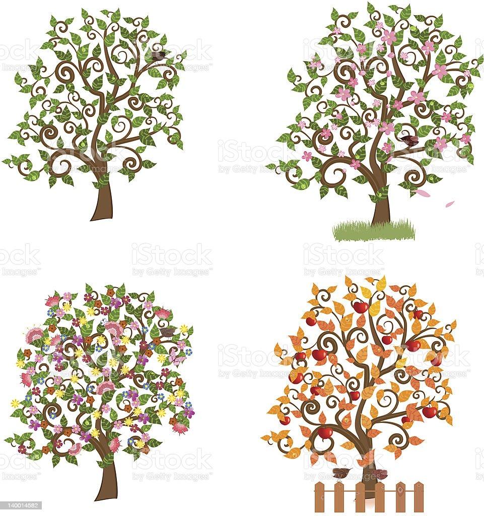 set of decorative trees Seasons royalty-free stock vector art