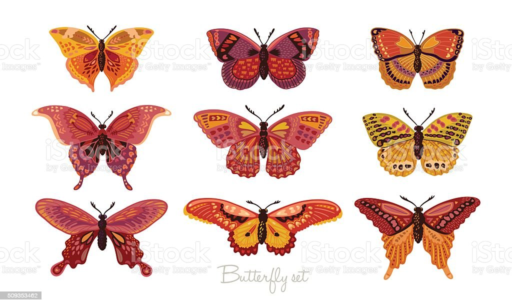 Set of decorative vector butterflies vector art illustration