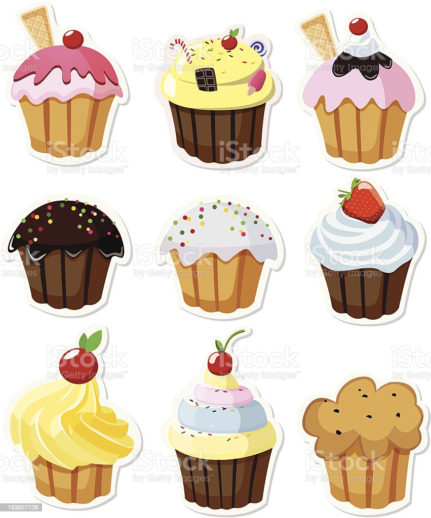 Set of delicious cupcakes royalty-free stock photo