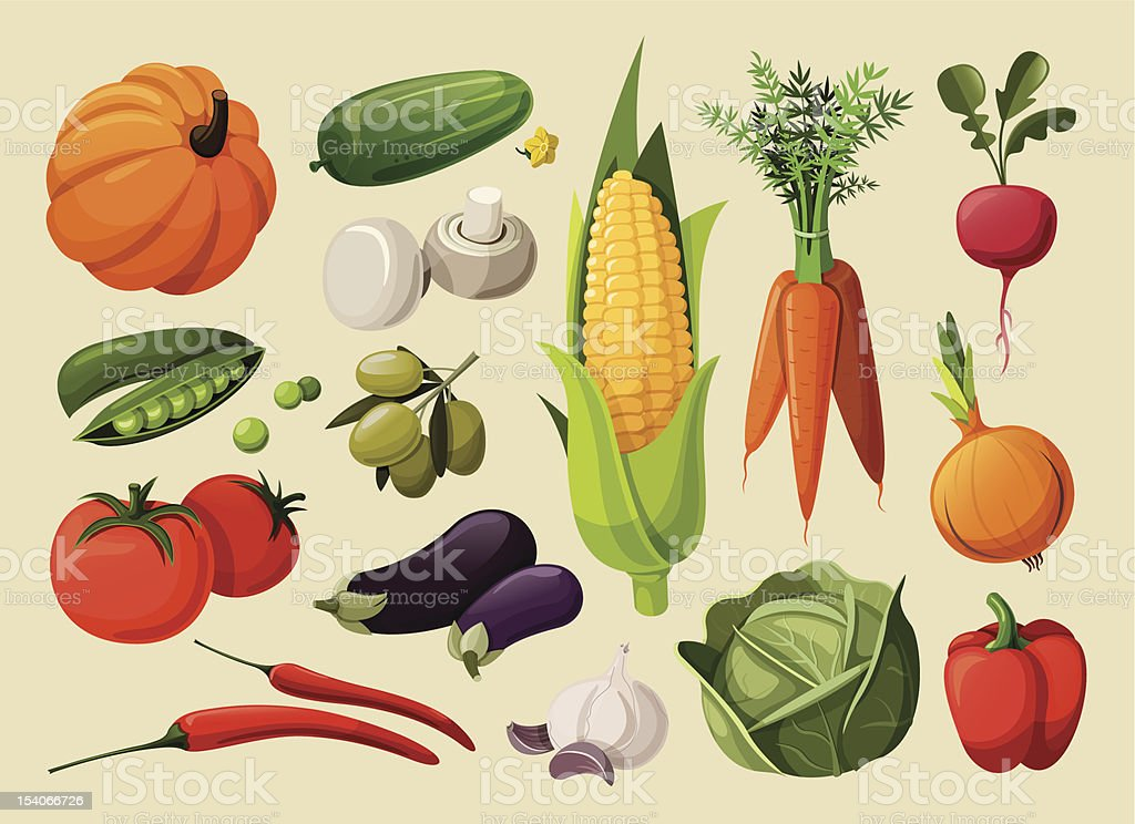 Set of delicious vegetables. vector art illustration