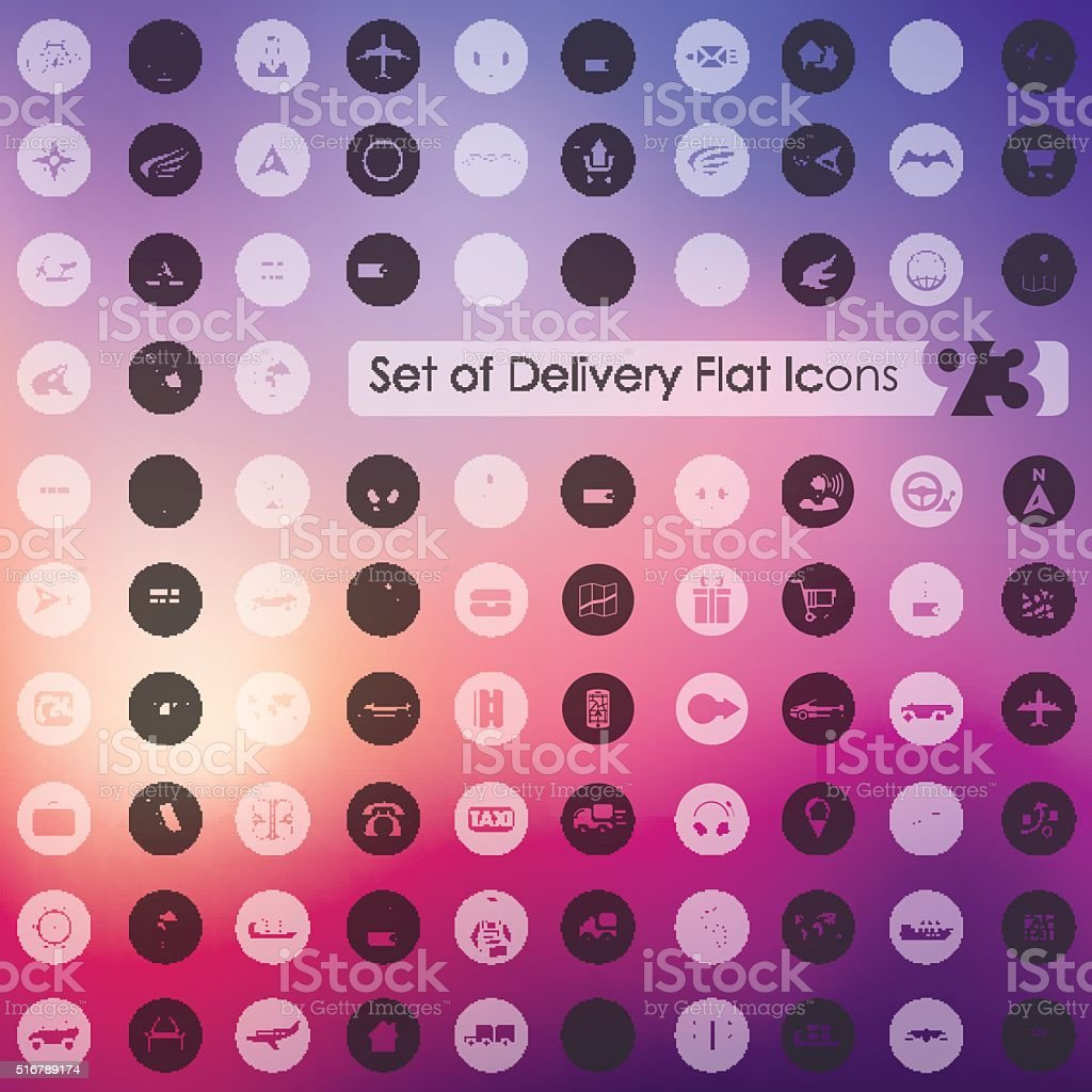 Set of delivery icons vector art illustration