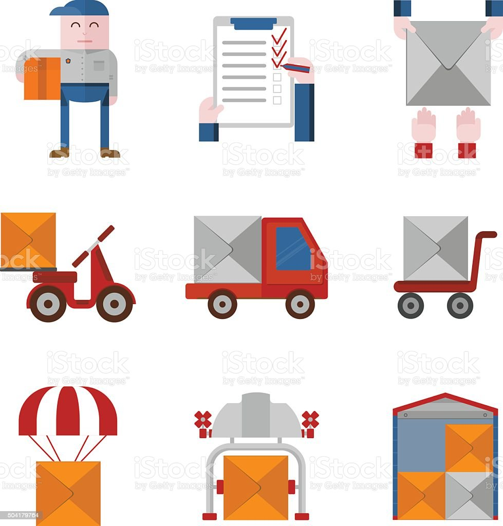 Set of delivery objects vector art illustration