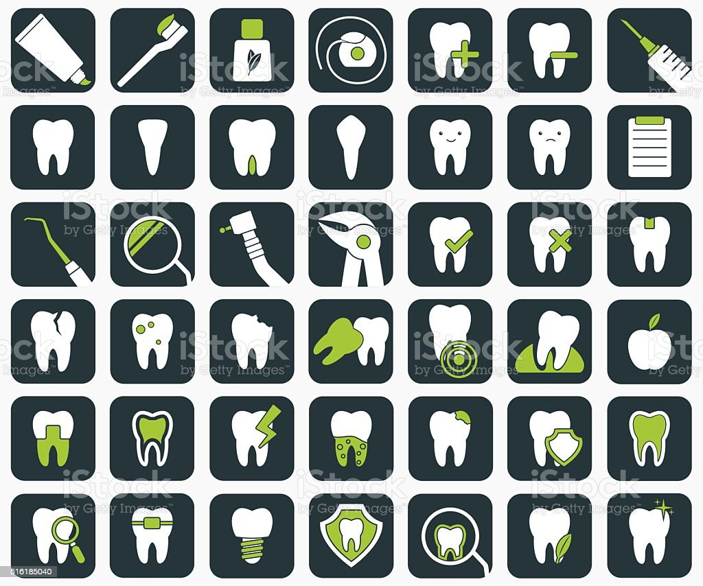 Set of dental icons. vector art illustration