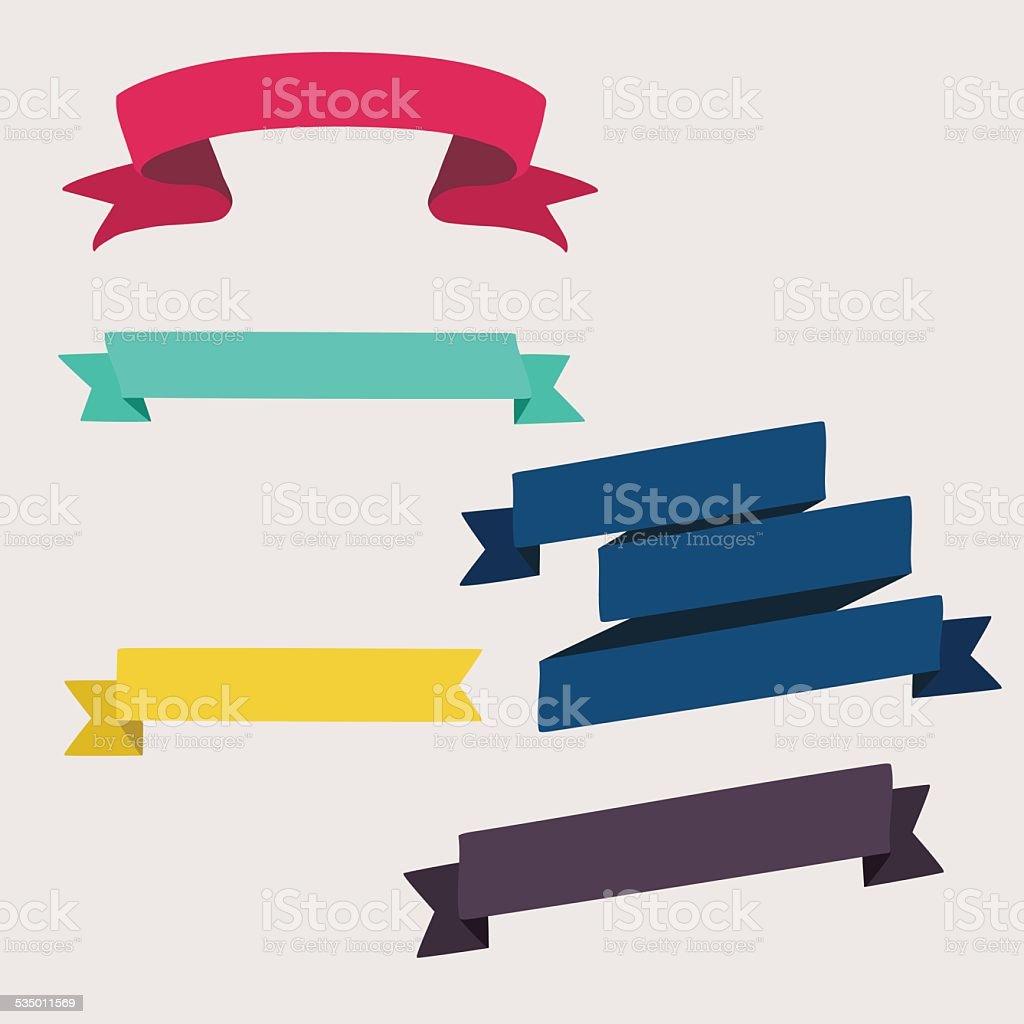 Set of design elements banners ribbons. Vector illustration. vector art illustration