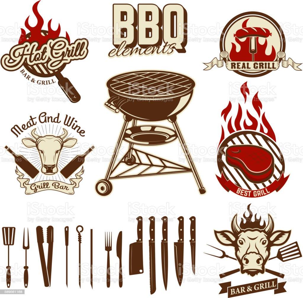 Set of design elements for bbq and grill labels. Set vector art illustration