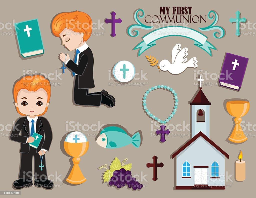 Set of design elements for First Communion for boys. vector art illustration