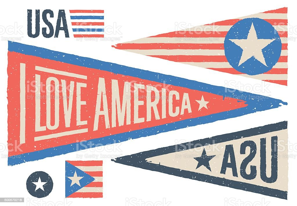 Set of design elements for Independence Day in USA. Vector vector art illustration