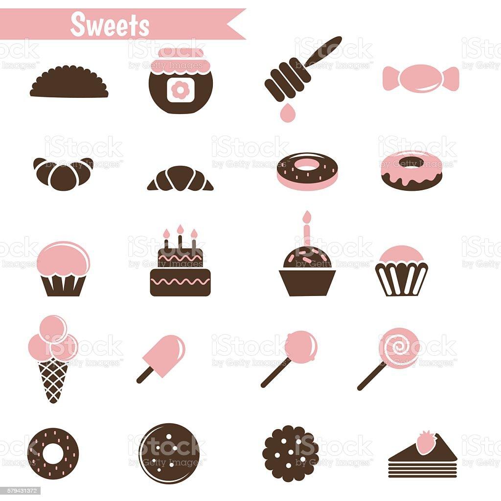 Set of dessert icons. vector art illustration