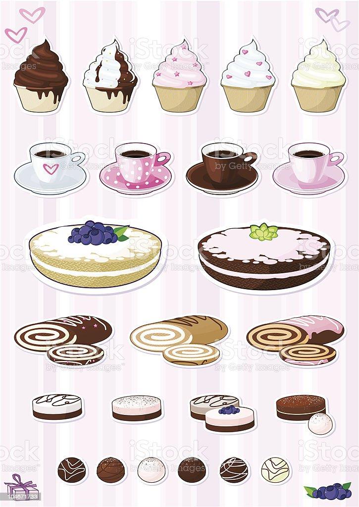 set of desserts royalty-free stock vector art