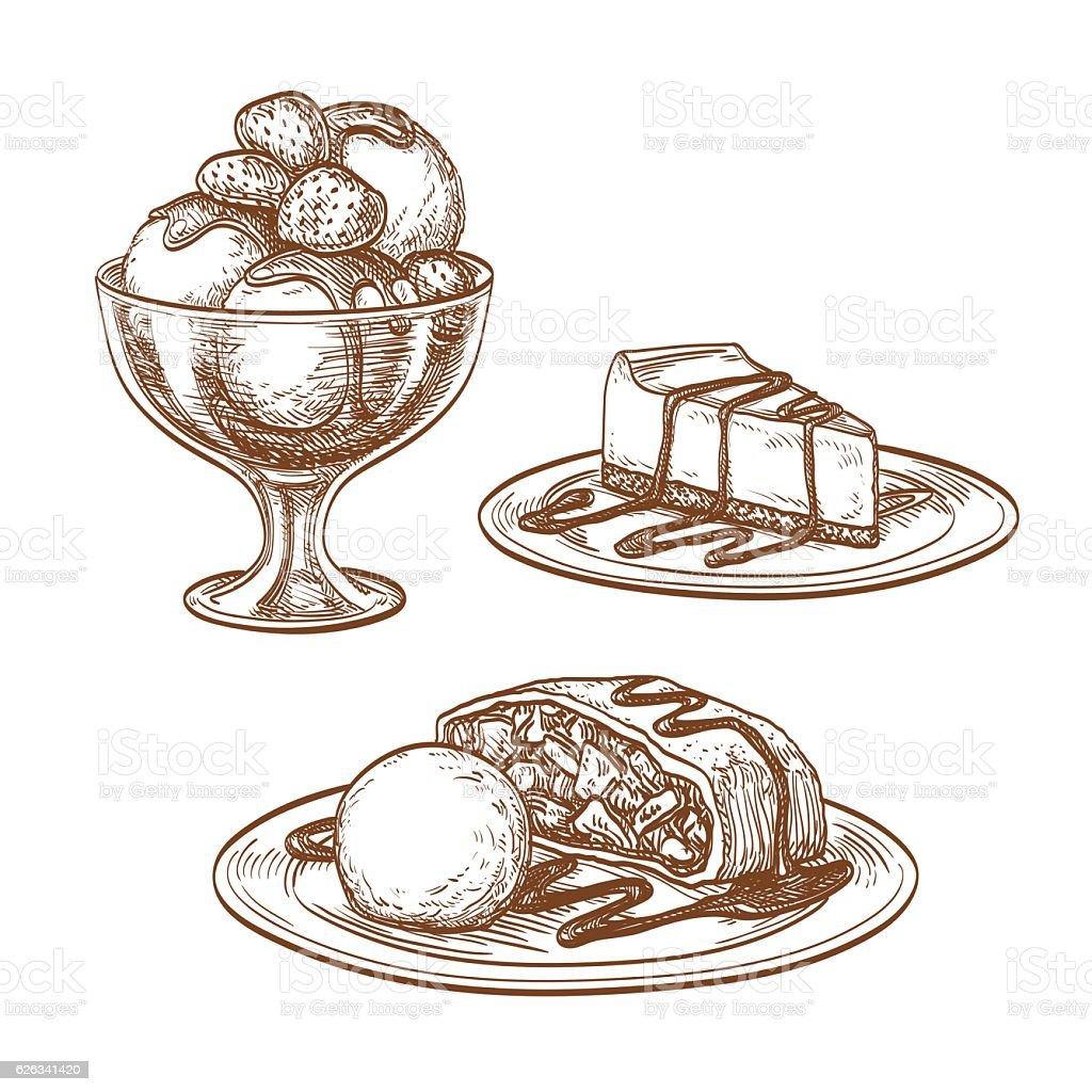 Set of desserts. vector art illustration