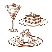 Set of desserts.