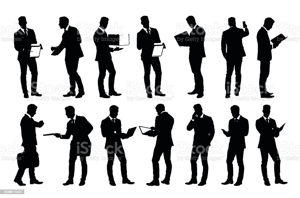 Set of detailed businessman silhouettes using holding various business objects vector art illustration