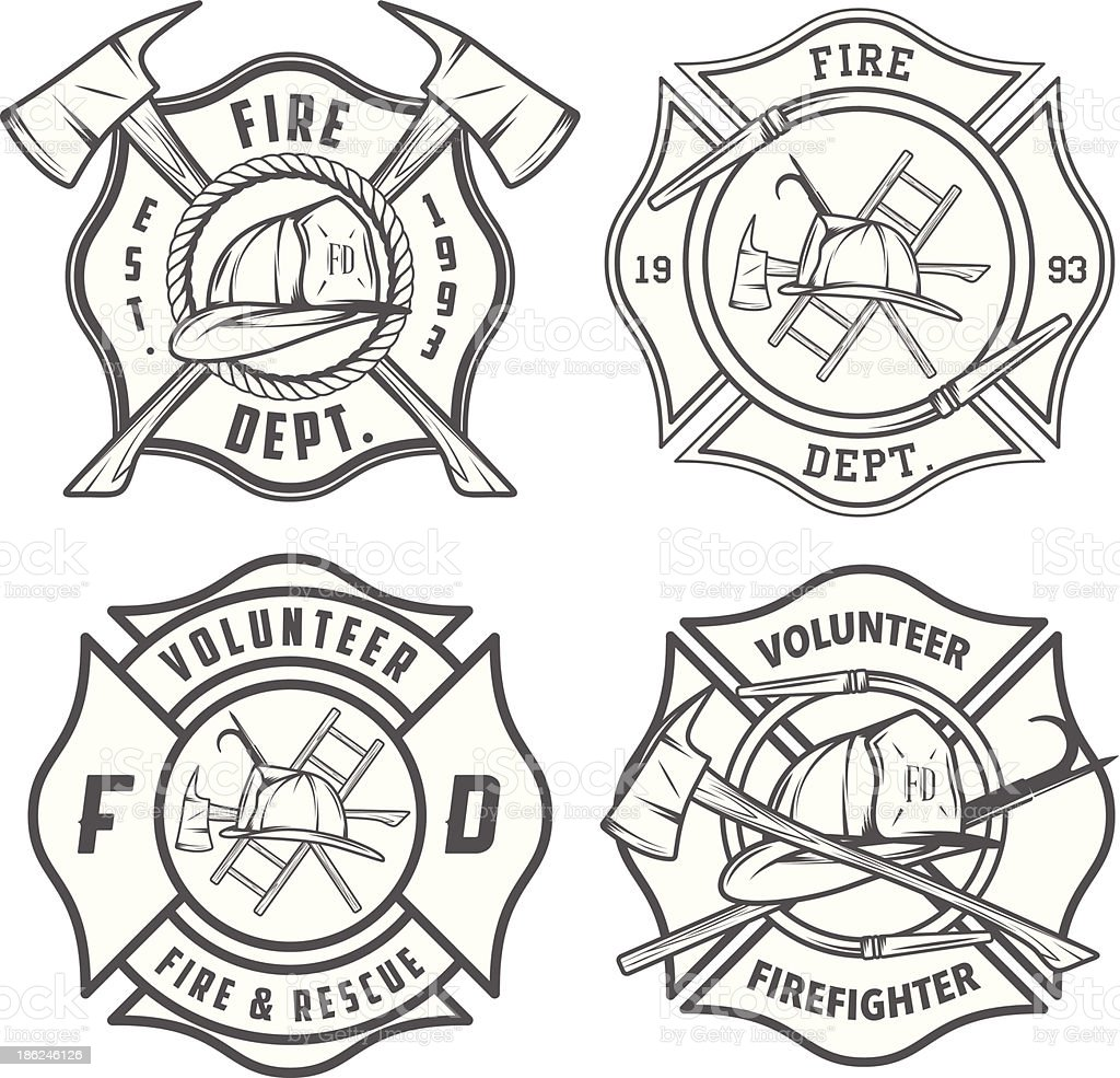 Set of detailed fire department emblems and badges vector art illustration
